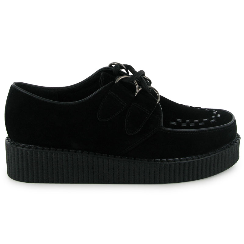 New Women Black Faux Suede Platform Ladies Lace Up Creepers Punk Goth Shoe Boots