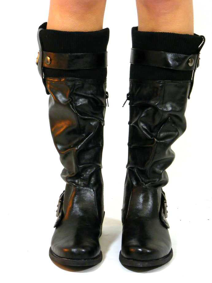 NEW LADIES FLAT RIDING MILITARY BIKER BOOTS SIZE 3-8