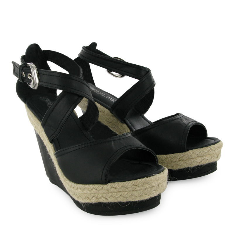LADIES NEW WEDGE BLACK BUCKLE STRAP SHOES SIZE 3-8 UK