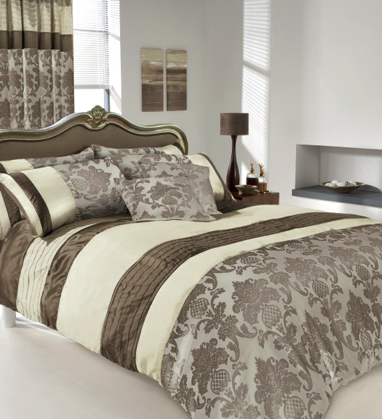 Brown cream luxury printed duvet cover pillow cases set ebay for Brown and cream bedroom