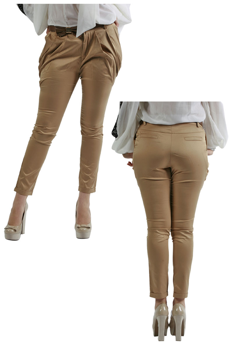 70B NEW LADIES CAMEL PLEATED CHINO TROUSERS SIZE 8-14