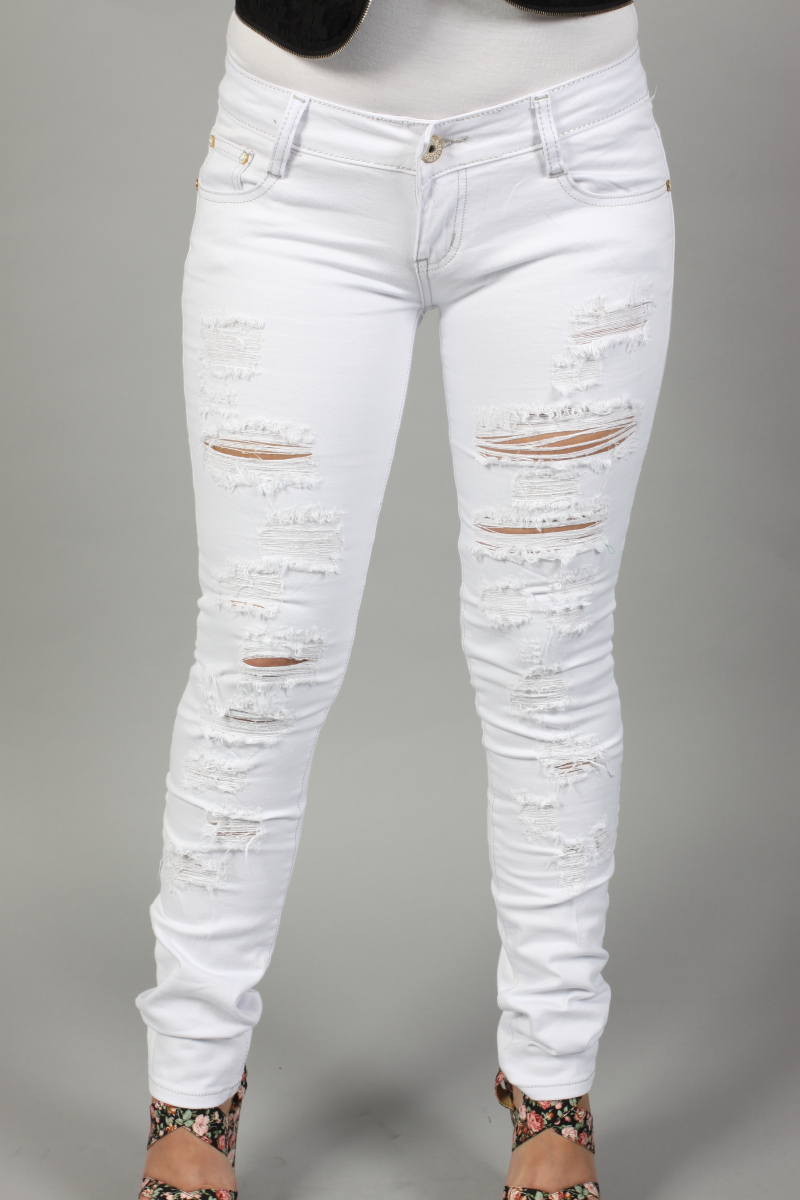 Ripped White Jeans - Jeans Am