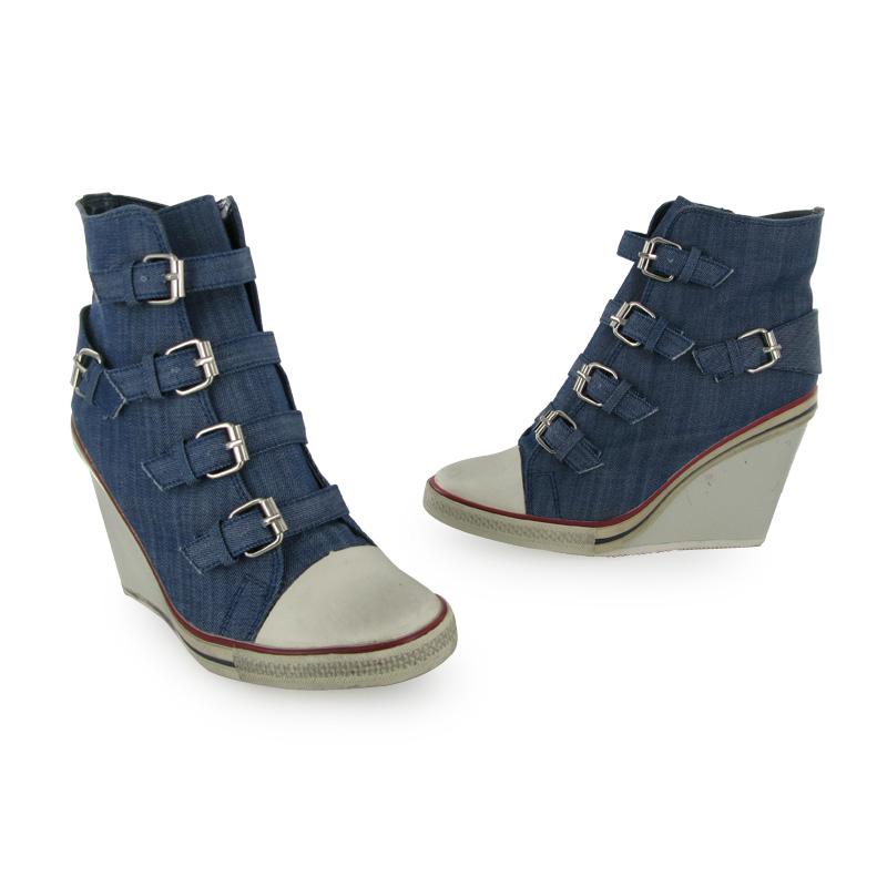 womens new blue denim wedge heel shoe boots size 3 8 uk ebay