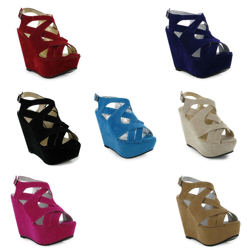 31E NEW WOMENS STRAPPY PLATFORM WEDGE SANDALS SHOES UK