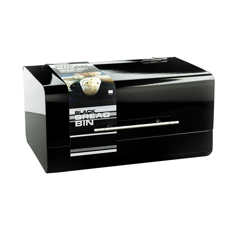 Black Kitchen Bin Sale: Black Glossy Enamel Bread Bin