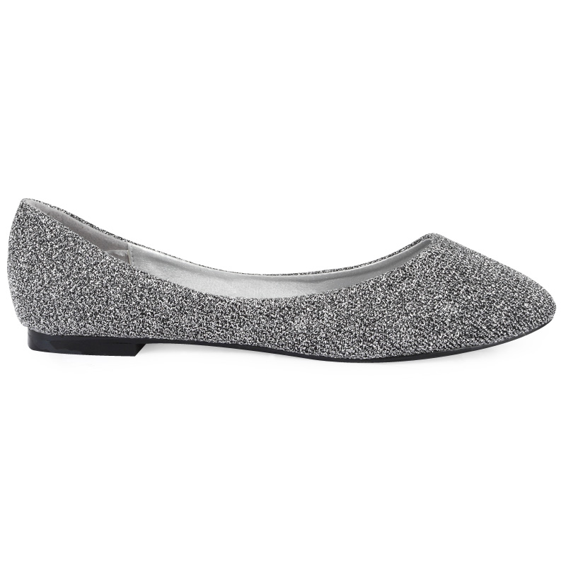 New Womens Silver Shimmer Glitter Ladies Pointed Ballerina ...