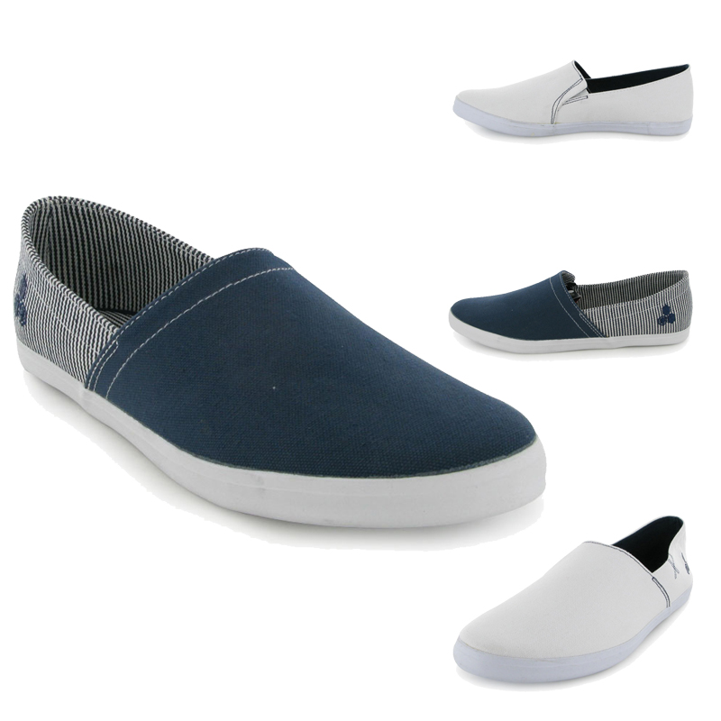 new mens flat canvas plimsolls deck pumps shoes uk ebay