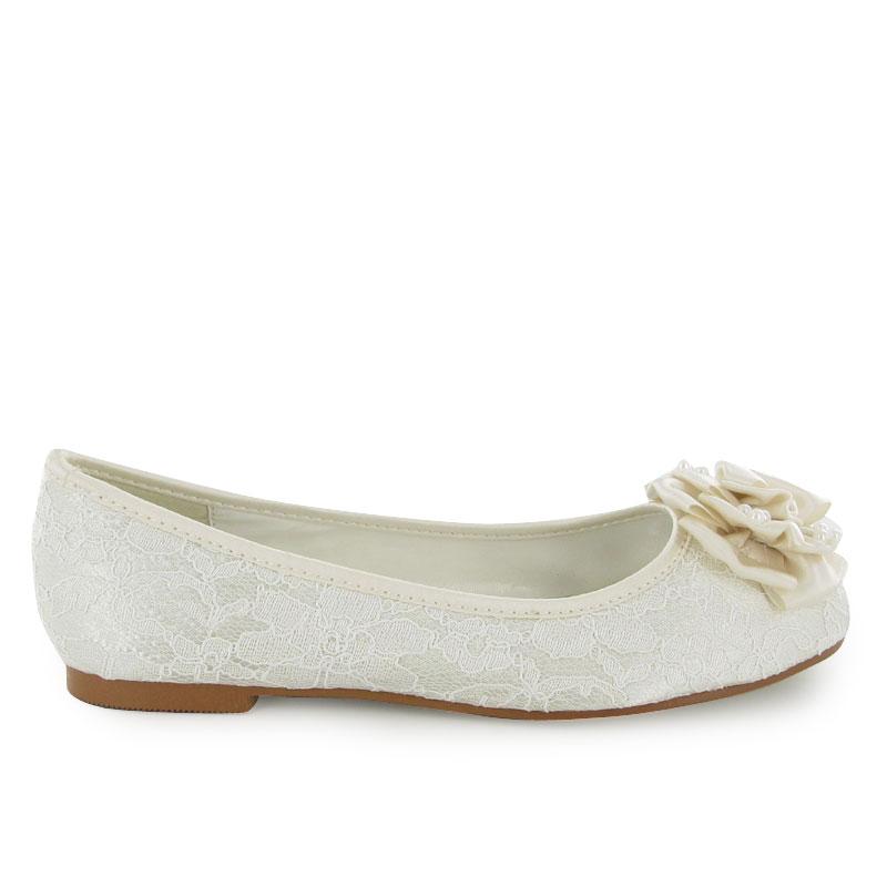 new womens ivory flat wedding bridal shoes size 3 8 uk
