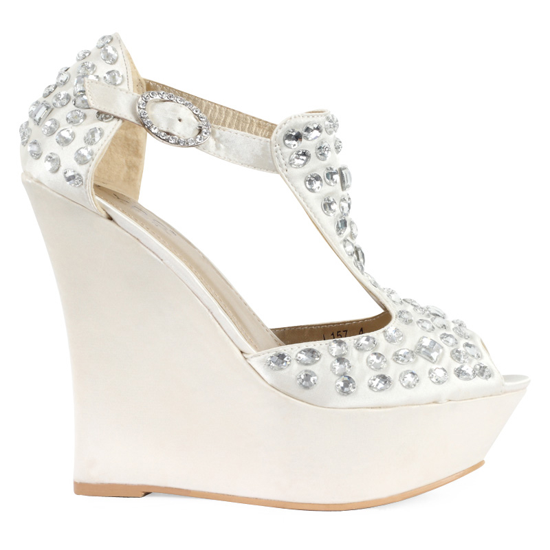 NEW WOMENS IVORY SATIN DIAMANTE LADIES PLATFORM BRIDAL WEDGE HEEL SHOES SIZE 3 8