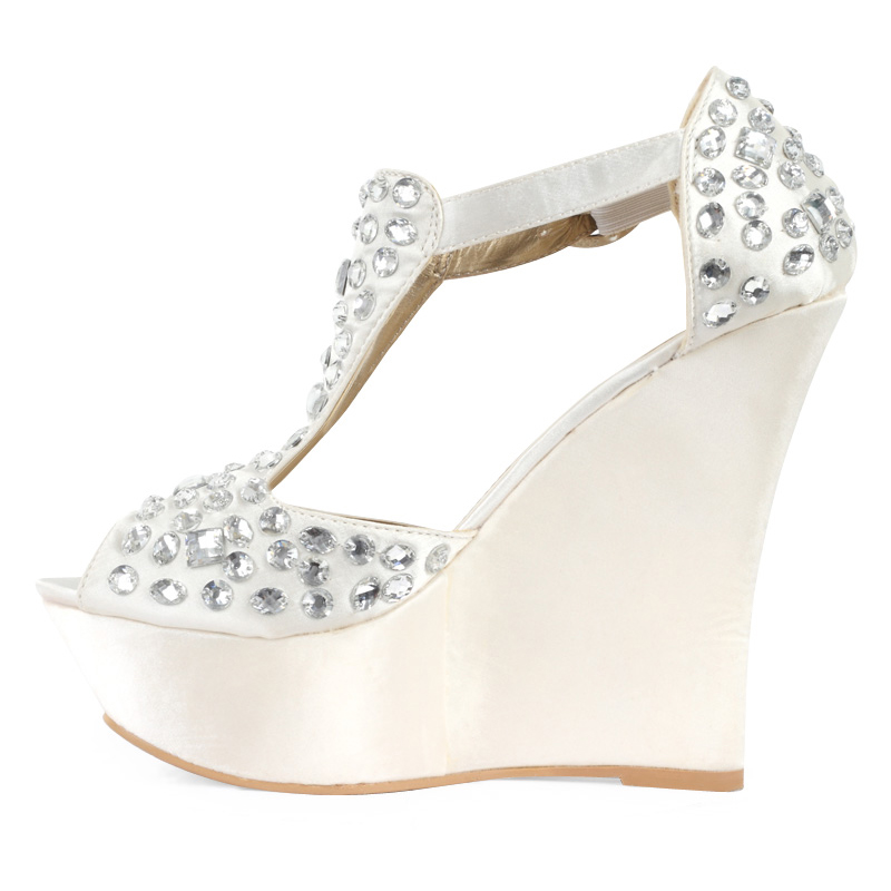 Wedge Heel Shoes For Wedding: NEW WOMENS IVORY SATIN DIAMANTE LADIES PLATFORM BRIDAL
