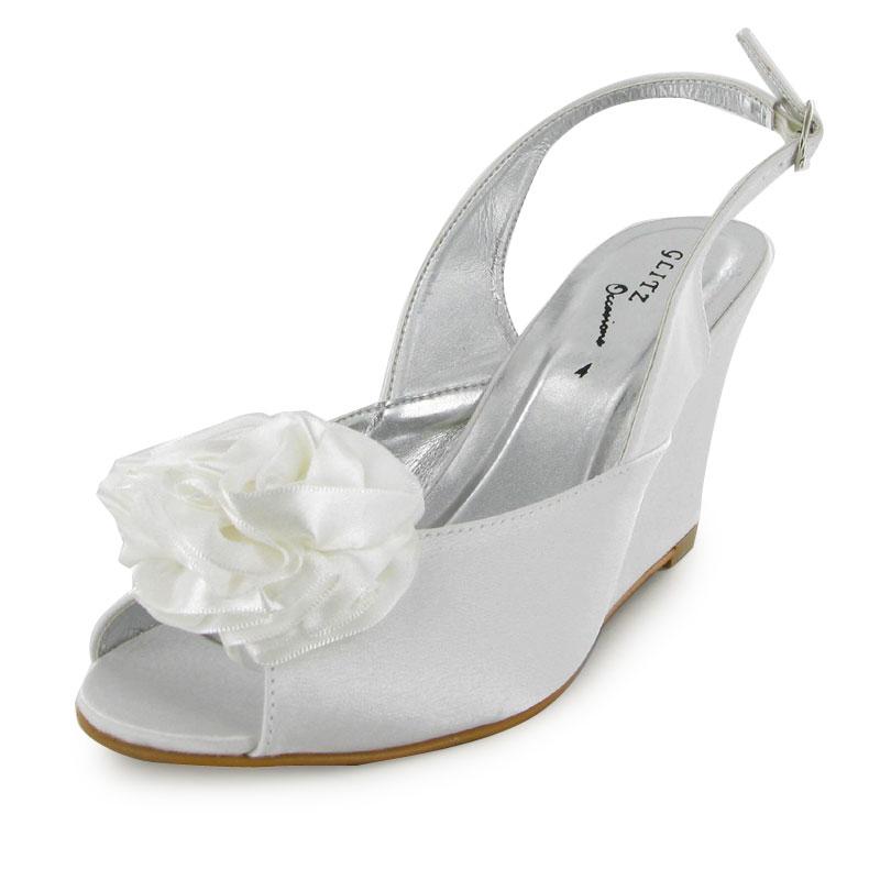 satin peep toe formal wedding wedge prom shoes ebay