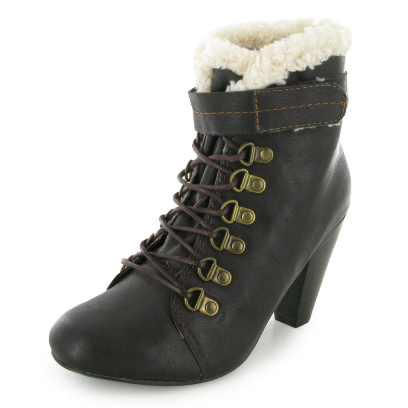 faux fur lace up stack heel ankle boots ebay