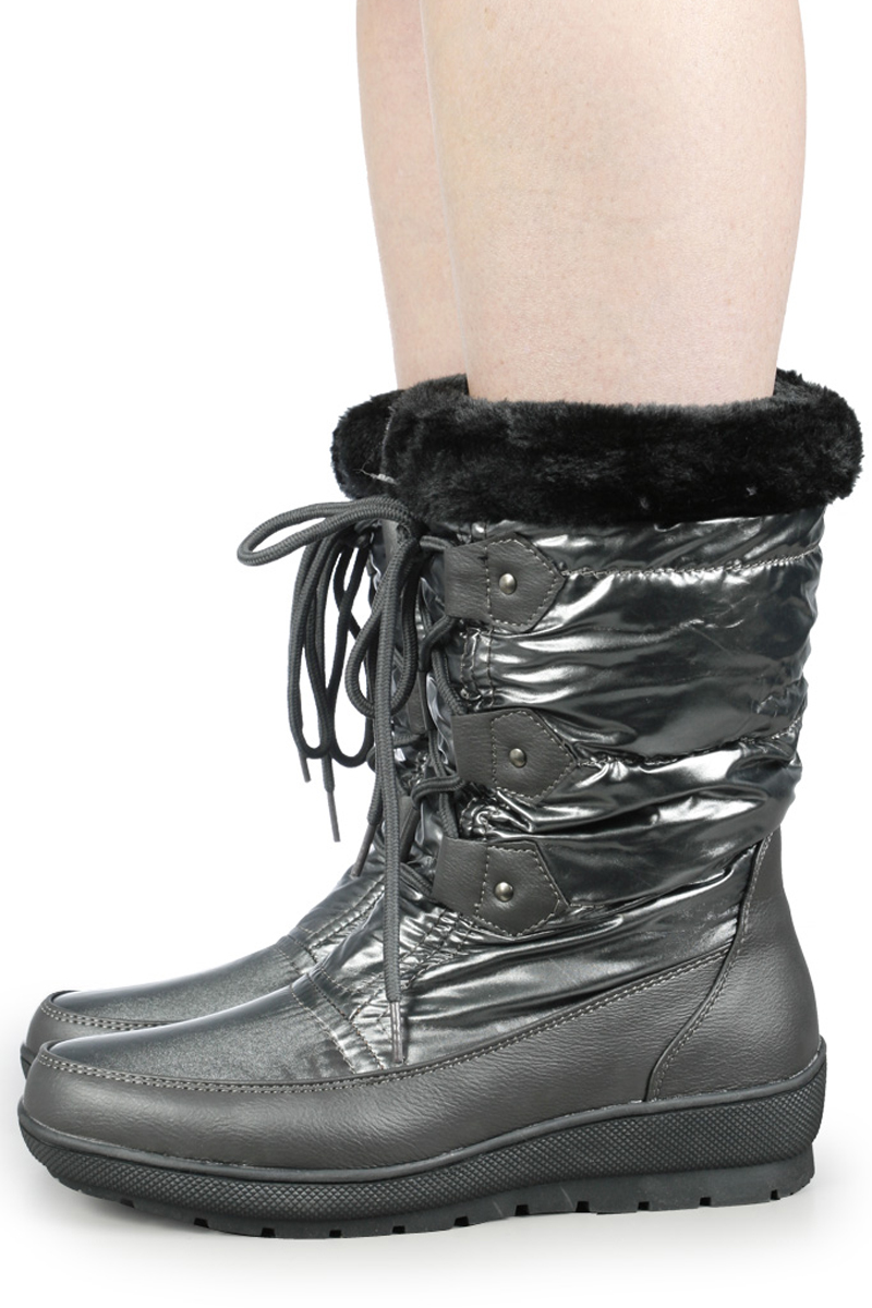 WOMENS GREY CASUAL SNOW LACE UP WEDGE BOOTS SIZE 3-8 UK