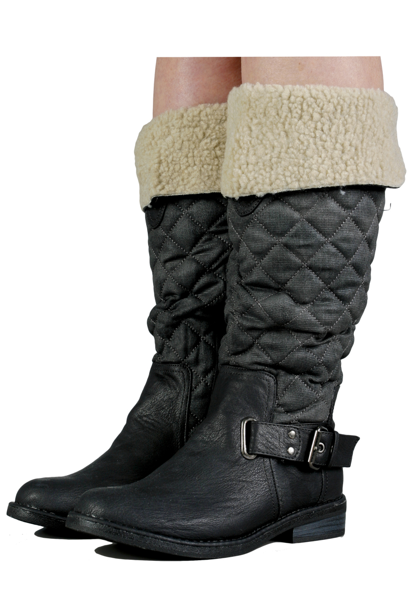 WOMENS BLACK BUCKLE QUILTED ZIP UP BIKER RIDING CASUAL MID CALF BOOTS SIZE 3-8