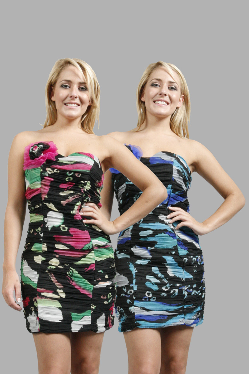 01Y NEW LADIES FLORAL ROUCHED MINI BODYCON WOMENS PARTY EVENING DRESS SIZE 6-16