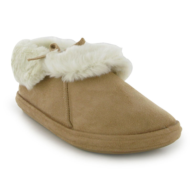 BNIB LADIES BEIGE FAUX SUEDE FAUX FUR WOMENS BOOTIE SLIPPER BOOTS SHOES SIZE 3-8
