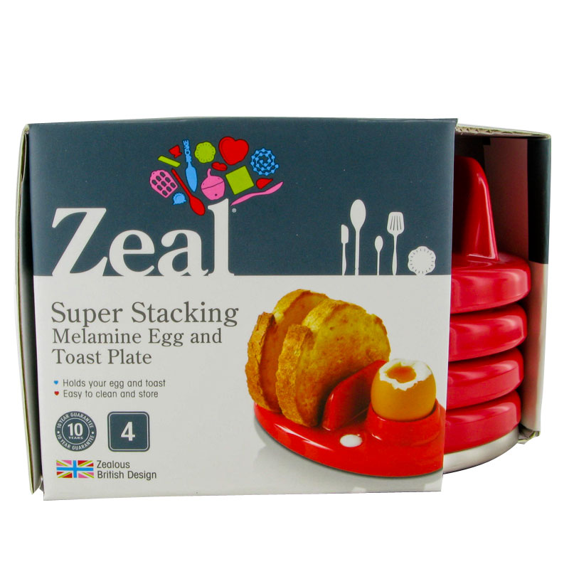 NEW ZEAL KITCHEN RED MELAMINE BOILED EGG & TOAST SERVING PLATE STACKING 4 PACK