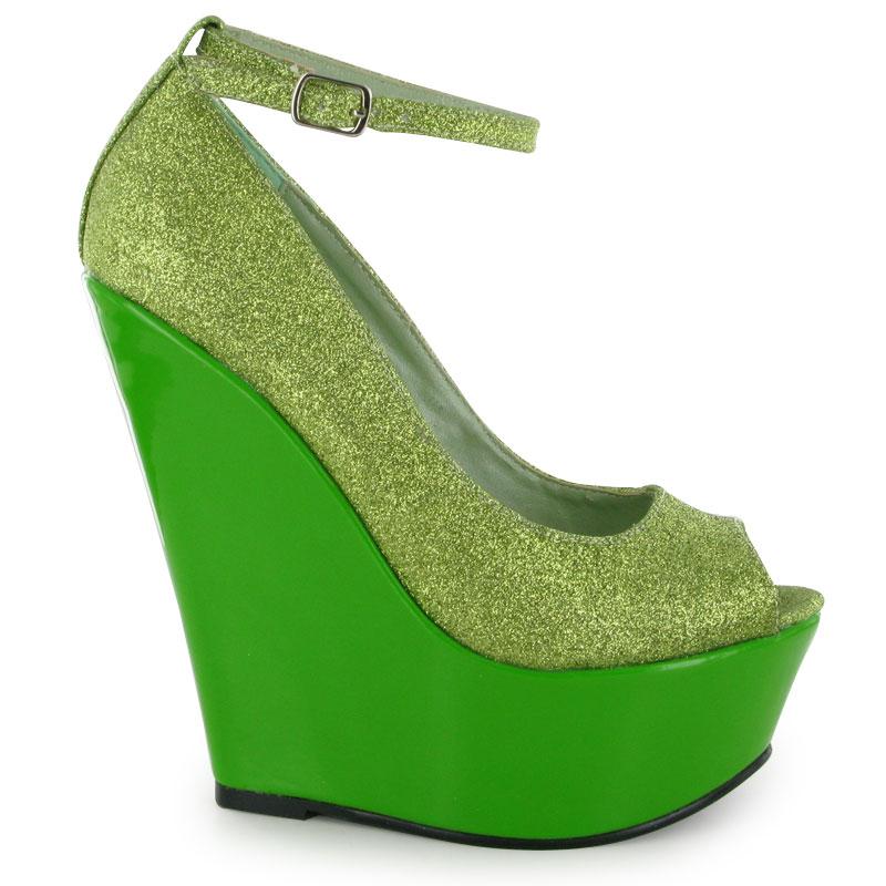 green wedge glitter womens court high heels ankle