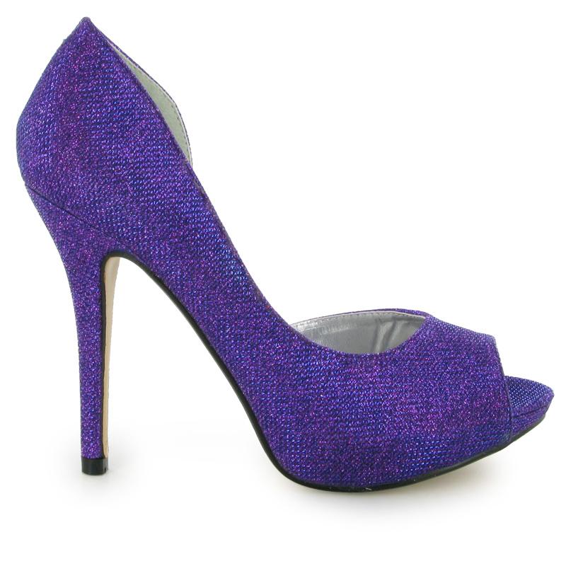 purple formal open side wedding high heel womens