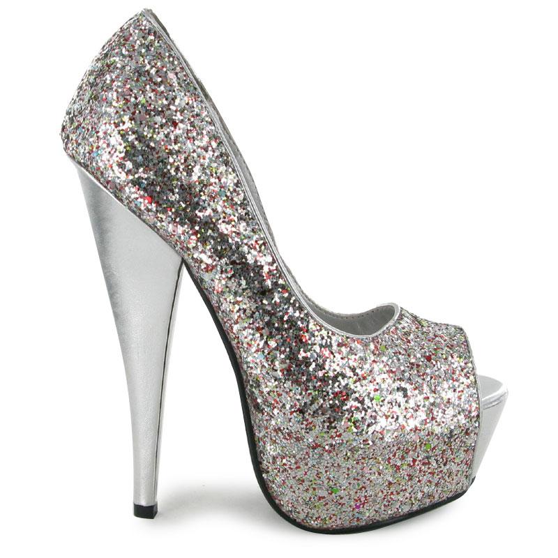 womens silver glitter platform evening high heel formal. Black Bedroom Furniture Sets. Home Design Ideas