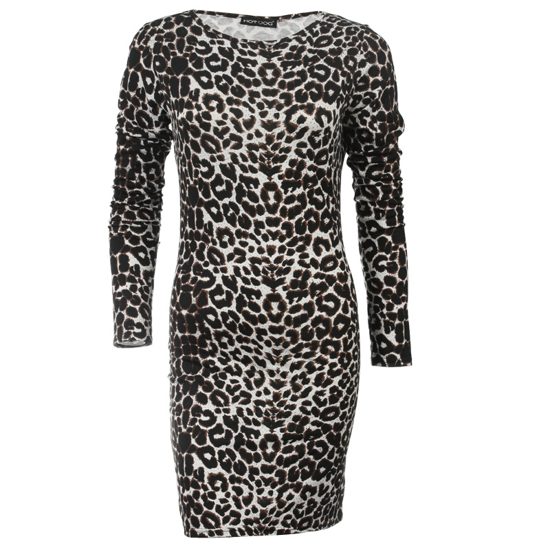 WOMENS WHITE-BROWN LEOPARD BODYCON PARTY EVENING CASUAL STRETCH DRESS SIZE 8-14 Enlarged Preview