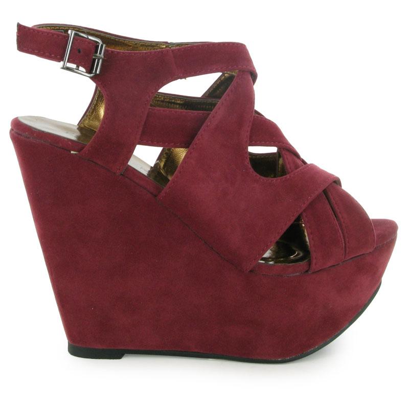 14d new burgundy wedge platform sandals