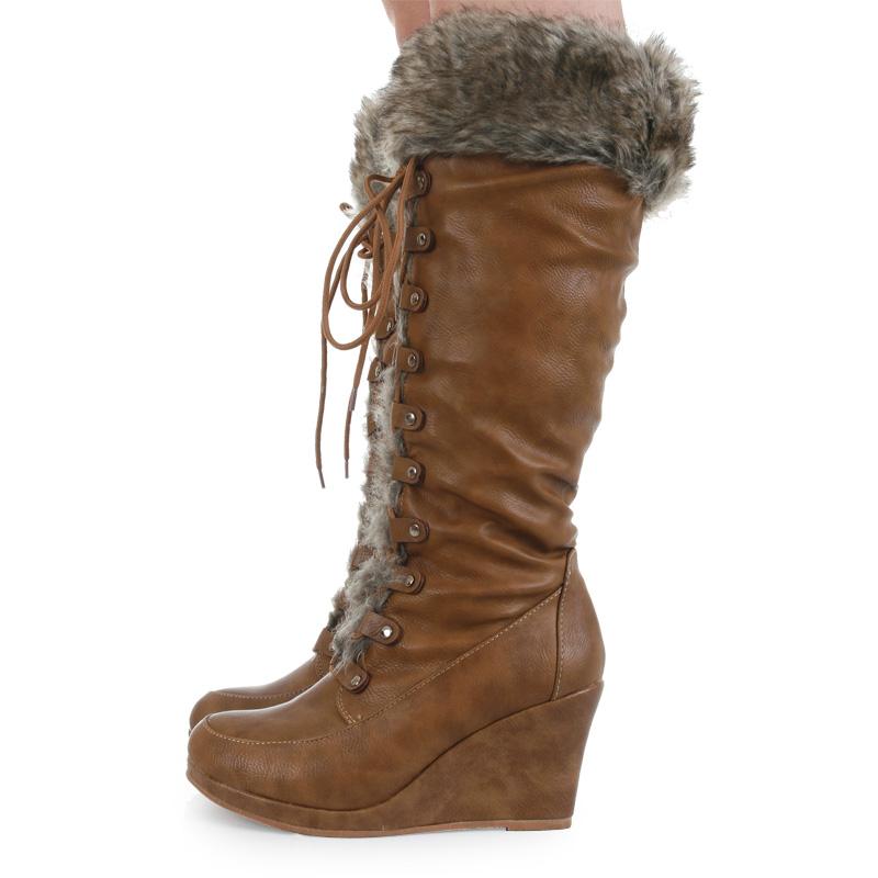 casual knee high zip up faux fur trim wedge womens