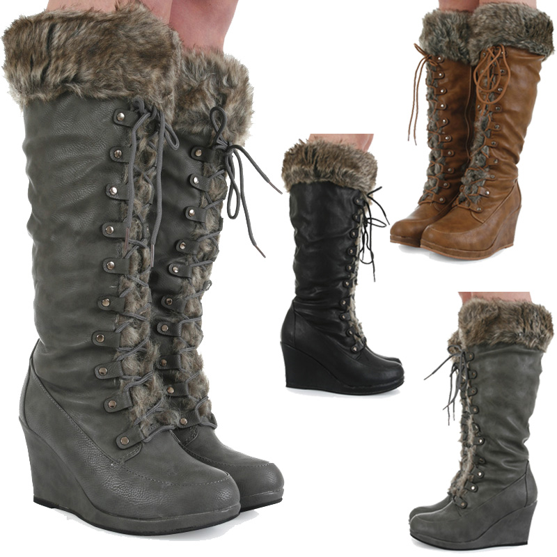 casual knee high zip up faux fur trim wedge womens