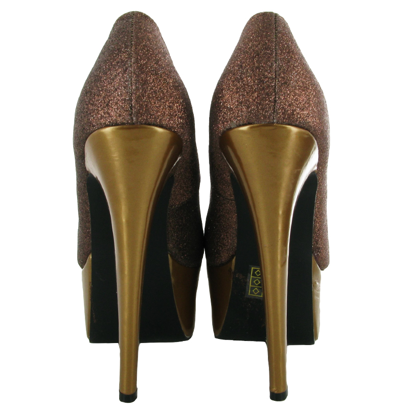NEW WOMENS GLITTER BRONZE STILETTO SLIP ON COURT EVENING PLATFORM SHOES SIZE 3-8