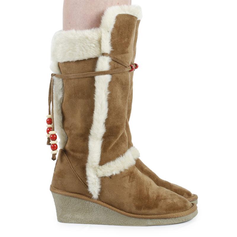 womens brown wedge faux fur faux suede fur winter casual