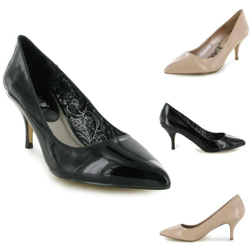 new patent kitten heel womens smart formal pointy