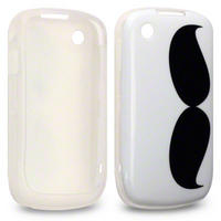 TPU GEL/RUBBER CASE FOR BLACKBERRY CURVE 8520 / 9300 - MOUSTACHE