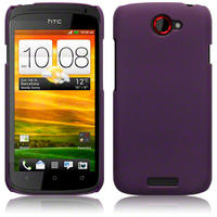 Hybrid Rubberised Back Cover Case For HTC One S Solid Black Pink Purple Red