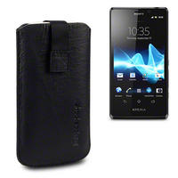 GENUINE LEATHER POCKET WITH SHOCKSOCK LOGO FOR SONY XPERIA T - BLACK