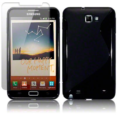 S CURVE TPU GEL CASE / COVER FOR SAMSUNG GALAXY NOTE + LCD GUARD - SOLID BLACK