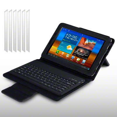 PU LEATHER CASE & KEYBOARD FOR SAMSUNG GALAXY TAB 7.7 + 6 LCD GUARDS - BLACK