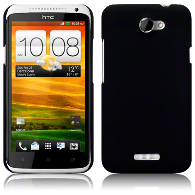 Hybrid Rubberised Back Cover Case For HTC One X / Solid Black