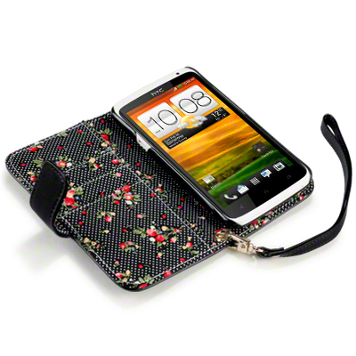 Premium PU Leather Wallet Case For HTC One X / Black, Floral Interior