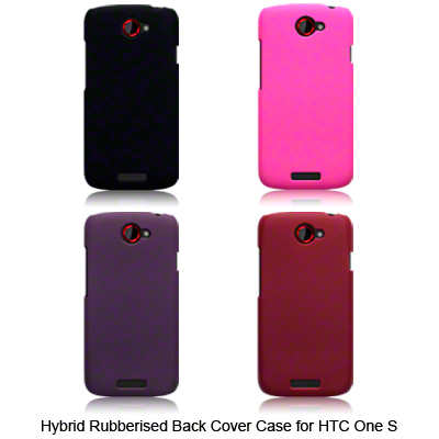 Hybrid Rubberised Back Cover Case For HTC One S Solid Black, Pink, Purple, Red