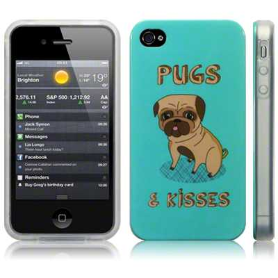 Image TPU Gel Case for iPhone 4S / iPhone 4 / Pug & Kisses