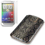 View Item HTC Sensation XL Snakeskin Covert Premium Pu Leather Pocket Pouch Case+ 2-In-1 Screen Protector Pack