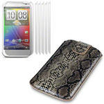 View Item HTC Sensation XL Snakeskin Covert Premium Pu Leather Pocket Pouch Case+ 6-In-1 Screen Protector Pack