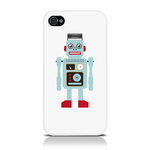 View Item iPhone 4S / 4 Vintage Retro Blue Robot With Wire Hair Hard Back Case