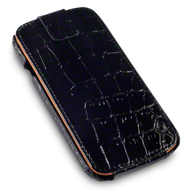 View Item HTC One S Covert Low Profile Flip Case - Black Crocodile Skin
