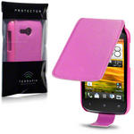 View Item HTC Desire C PU Leather Flip Case - Hot Pink