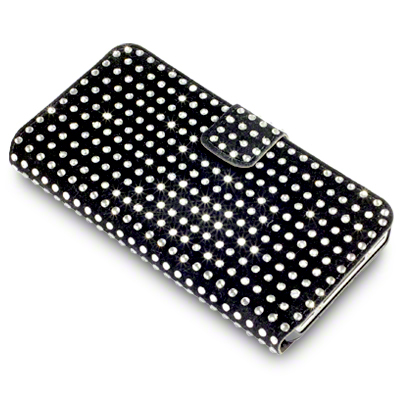 View Item iPhone 4S / 4 Diamante Wallet Case - Silver On Black by Covert