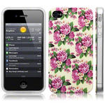 View Item iPhone 4S / 4 Trendy Floral Pretty Petal Print Pink And White Flowers Hard Back Case