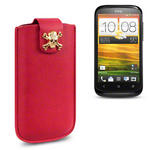 View Item HTC Desire X A Skullptured Pouch Case (Gold Skull) by Creative Eleven - Red