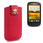 View Item HTC Desire C A Skullptured Pouch Case (Gold Skull) by Creative Eleven - Red