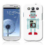 View Item Samsung Galaxy S3 I9300 Vintage Retro Blue Robot With Wire Hair Hard Back Case
